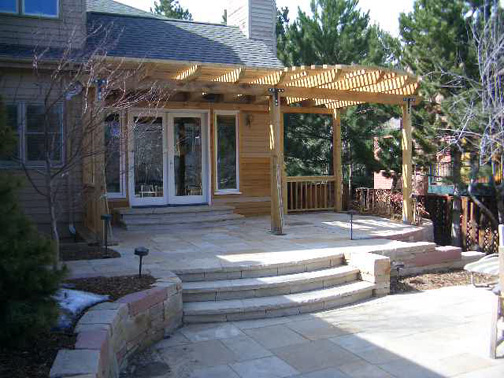 Cedar Shade Structure (prior to painting), CO and AZ Sandstone walls, patios and steps