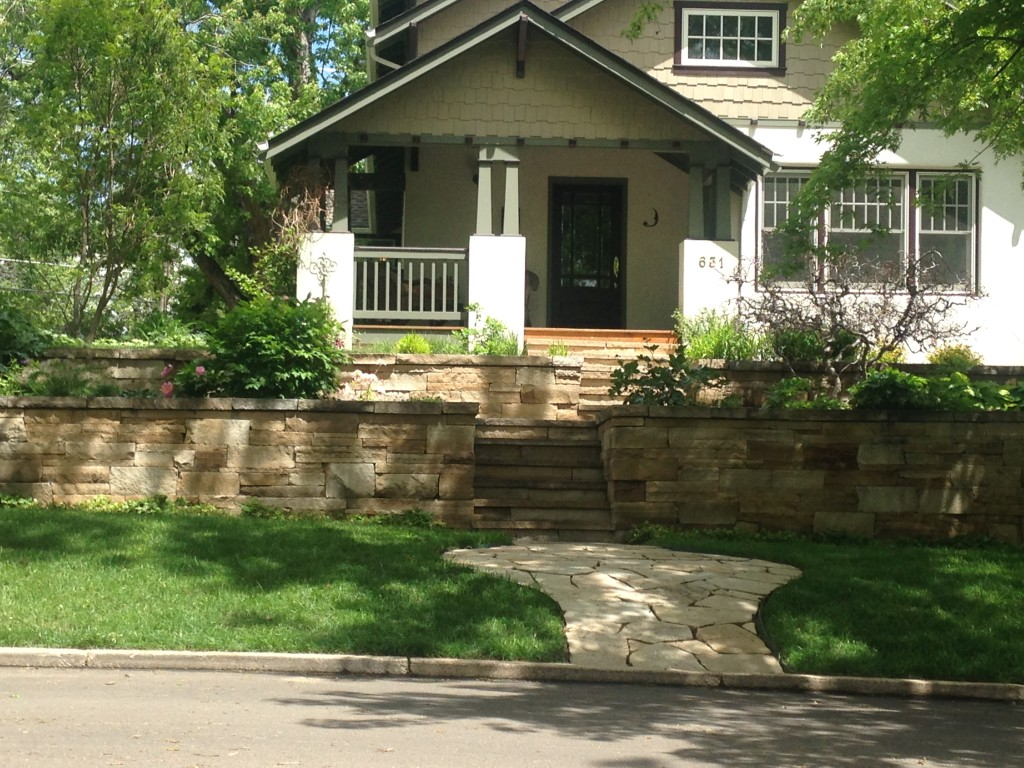 Buff Flagstone wall and steps